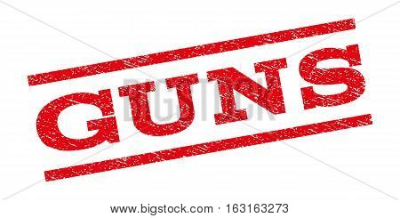 Guns watermark stamp. Text caption between parallel lines with grunge design style. Rubber seal stamp with dust texture. Vector red color ink imprint on a white background.