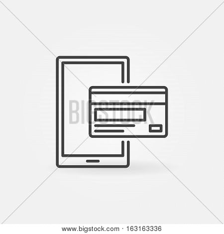 Mobile payment linear icon. Vector thin line mobile banking concept sign. Smartphone with credit card symbol or logo element