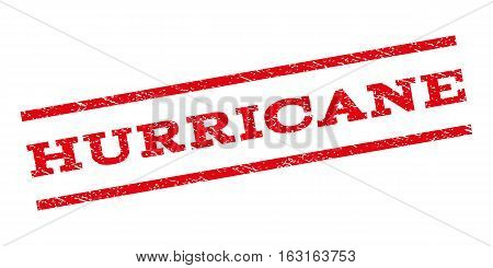 Hurricane watermark stamp. Text tag between parallel lines with grunge design style. Rubber seal stamp with scratched texture. Vector red color ink imprint on a white background.