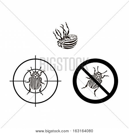 Prohibition sign colorado beetles icon. Vector illustration of prohibition sign set colorado beetles vector