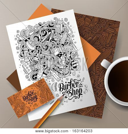 Cartoon cute vector hand drawn doodles Hair salon corporate identity set. Templates design of business card, flyers, posters, papers on the table