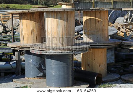 Many Wooden Reels For Electrical Cables In Landfills