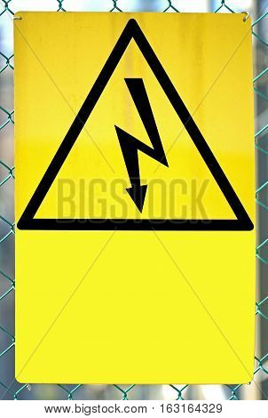 Sign With Lightning For Shock Hazard Risk