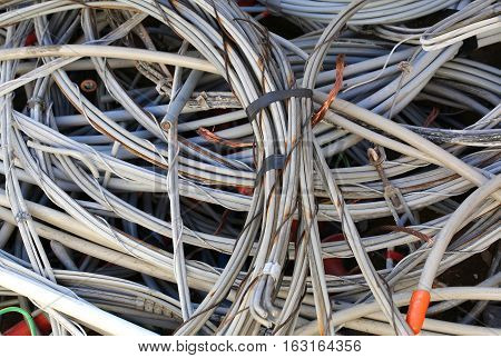 Obsolete Electrical Copper Cables In A Landfill