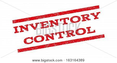 Inventory Control watermark stamp. Text tag between parallel lines with grunge design style. Rubber seal stamp with scratched texture. Vector red color ink imprint on a white background.