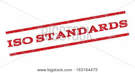 ISO Standards watermark stamp. Text caption between parallel lines with grunge design style. Rubber seal stamp with scratched texture. Vector red color ink imprint on a white background.