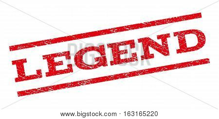 Legend watermark stamp. Text caption between parallel lines with grunge design style. Rubber seal stamp with unclean texture. Vector red color ink imprint on a white background.