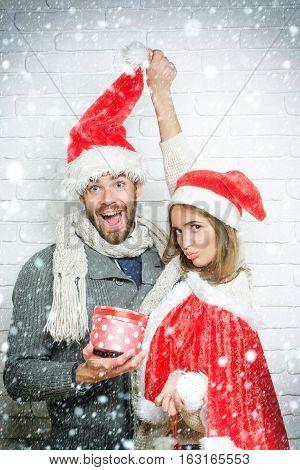 Young Funny Christmas Couple