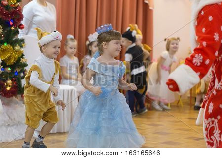 Gomel Belarus - DECEMBER 22 2016: New Year's holiday for children in kindergarten. Children 3 - 4 years.