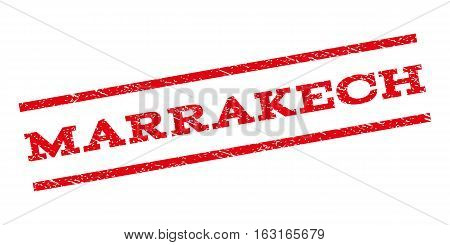 Marrakech watermark stamp. Text caption between parallel lines with grunge design style. Rubber seal stamp with scratched texture. Vector red color ink imprint on a white background.