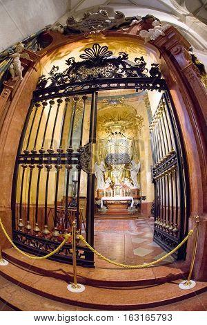 BRATISLAVA SLOVAKIA - DECEMBER 19: Interior of St. Martin's Cathedral on December 19 2016 in Bratislava