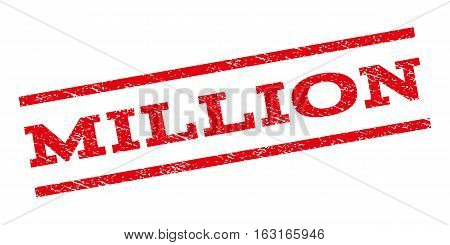 Million watermark stamp. Text tag between parallel lines with grunge design style. Rubber seal stamp with dirty texture. Vector red color ink imprint on a white background.