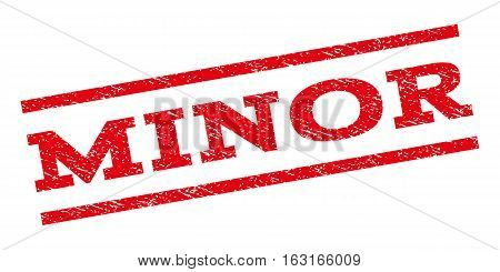 Minor watermark stamp. Text caption between parallel lines with grunge design style. Rubber seal stamp with unclean texture. Vector red color ink imprint on a white background.