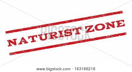 Naturist Zone watermark stamp. Text tag between parallel lines with grunge design style. Rubber seal stamp with unclean texture. Vector red color ink imprint on a white background.