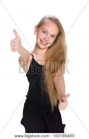 Laughing  Preteen Girl Holds Her Thumbs Up