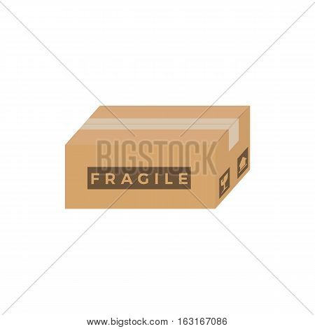 Flat Closed Cardboard Box With Fragile Sign