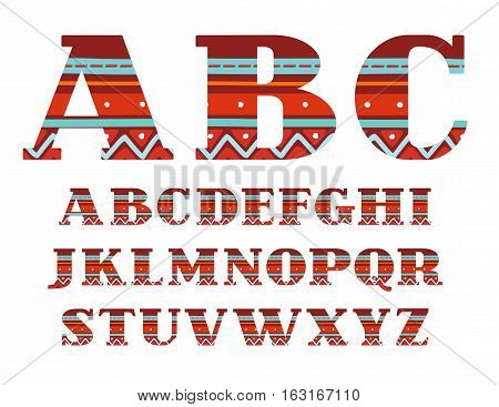 English alphabet, capital letters, folk decor, vector, red. Colored, vector letters with serifs. Blue stripes on a red background. National ornament.