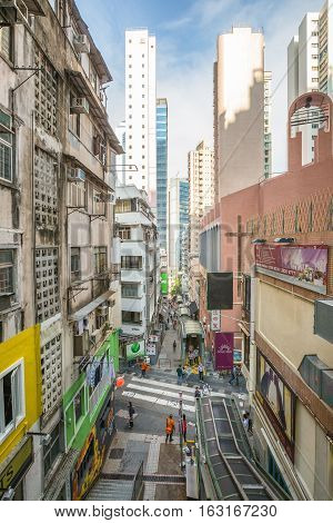 Hong Kong, China - December 4, 2016: aerial view of Central-Mid-Levels Escalator, the world's longest escalator system, on Shelley Street, from above Elgin Street in Soho district, Hong Kong island.