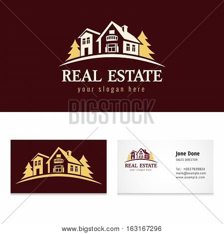 Real estate golden forest logo template. Creative luxury icon for real estate agency, building, lease house and business card template. Country hotel house vector vintage symbol