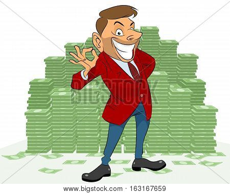 Vector illustration of a businessman with money
