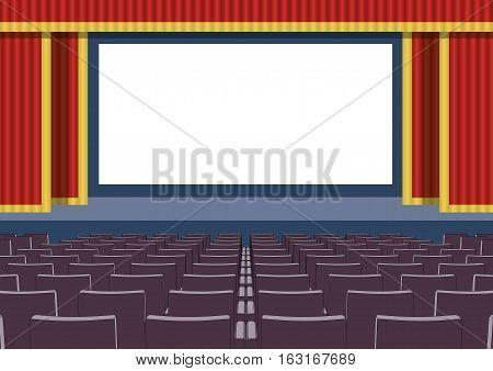 Empty Cinema Theater Blank Screen