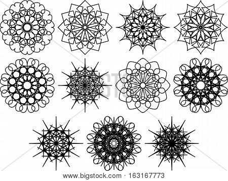 Set of spirograph symbols. Flowers and snowflakes. Black outline. Floral web design elements isolated on white background. Can be used as anti stress coloring book pages. Vector illustration