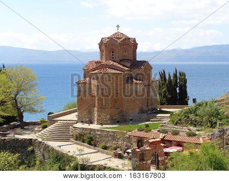 Stunning view of St. John at Kaneo's Church against Lake Ohrid, Republic of Macedonia