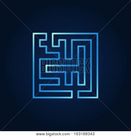 Line maze blue icon. Vector outline square maze concept symbol. Labyrinth colorful sign on dark background