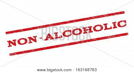 Non-Alcoholic watermark stamp. Text tag between parallel lines with grunge design style. Rubber seal stamp with scratched texture. Vector red color ink imprint on a white background.