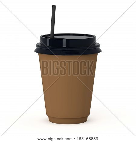 Disposable coffee cup with paper straw . Brown paper mug with plastic cap. 3d render isolated on white background