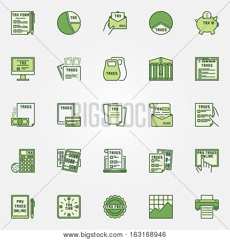 Colorful tax icons. Vector set of taxes concept green signs. Tax form, online payment, documents and other finance symbols