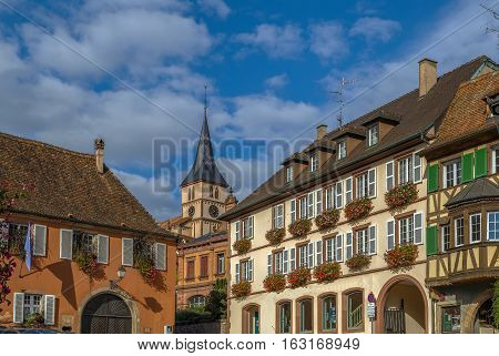 View of houses on main square in Barr Alsace France