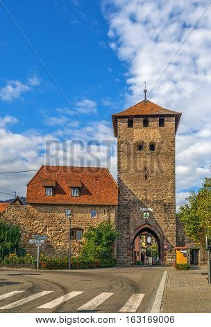 Town gate tower in Dambach-la-Ville Alsace France