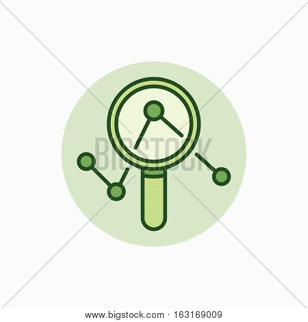 Magnifying glass with graph green icon. Vector colorful magnifier and graph flat business concept symbol