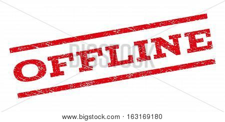 Offline watermark stamp. Text tag between parallel lines with grunge design style. Rubber seal stamp with dirty texture. Vector red color ink imprint on a white background.