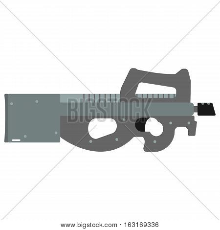 Submachine gun security and military weapon. Metal automatic gun. Criminal and police firearm vector illustration isolated on white.