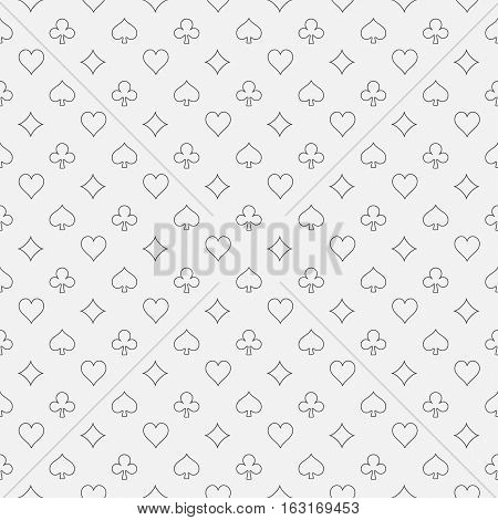 Card suits line pattern. Vector simple gambling seamless texture made with card suit icons in thin line style