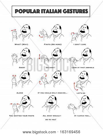 Gesturing funny cartoon bold man with mustaches. Set of gestures and humoristic explanations below. Vector illustration.