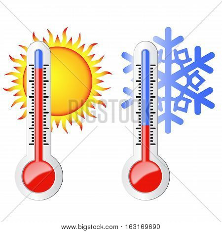 Two thermometers high and low temperature. Symbolize the heat and cold. Sun and snowflake.