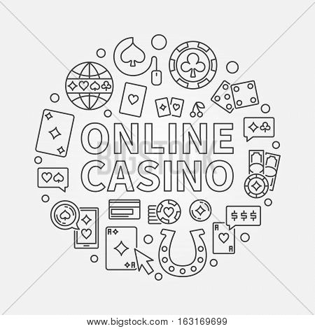 Online casino concept line illustration. Vector round linear design sign made with ONLINE CASINO phrase and gambling icons