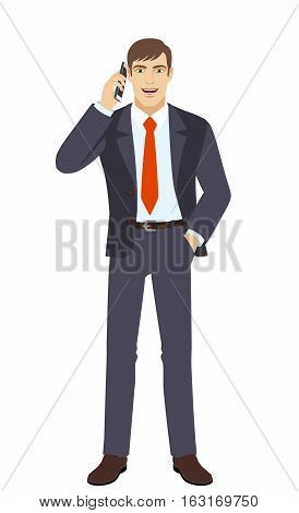 Businessman talking on the phone. Businessman holding hand in pocket. Full length portrait of businessman in a flat style. Vector illustration.