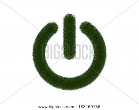 Grassy power button on white background. Isolated digital illustration. 3d rendering