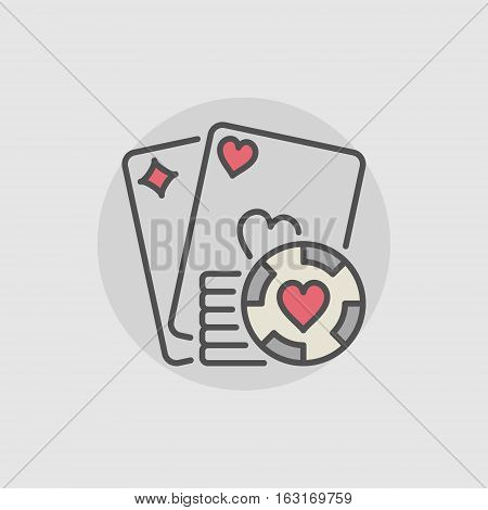 Playing cards and casino chips icon. Vector colorful poker and casino concept sign or logo element