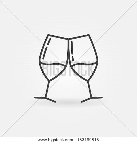 Two glasses of wine line icon. Vector wine glasses sign in thin line style. Cheers outline logo