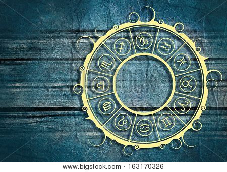 Astrological symbols in the circle. Concrete wall textured