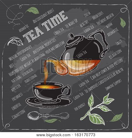 Green Tea Time card with cup, teapot, spoon and  leaves.   Freehand drawing with imitation of chalk sketch. Hot beverage. White lines on dark background.
