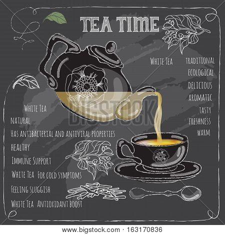 White Tea Time card with cup, teapot, spoon and  leaves.   Freehand drawing with imitation of chalk sketch. Hot beverage. White lines on dark background.