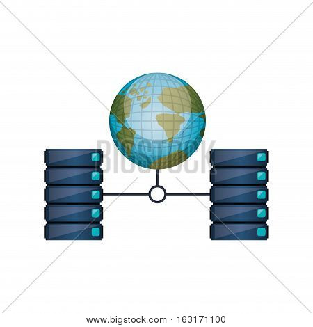 Web hosting icon. Data center base and security theme. Isolated design. Vector illustration