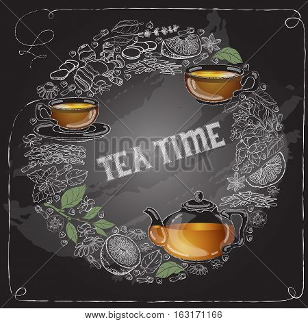 Vector card with a white outline hand drawn cup, pot, leaf, lemon on black, handwritten words Tea Time.