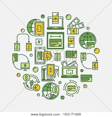 Currency exchange and money transfer circular illustration. Electronic funds transfers colorful round sign